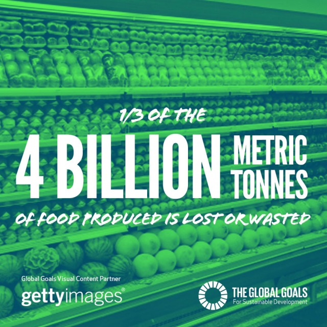 1/3 of the 4 billion metric tons of food produced is lost of wasted