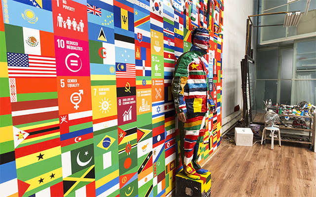 Liu Bolin creates a special artwork 'The Future' to raise awareness of the UN's Global Goals to end extreme poverty and fight inequality, injustice and climate change.