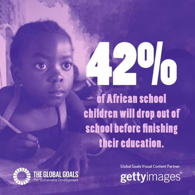 42% of african school children will drop out of school before finishing their education